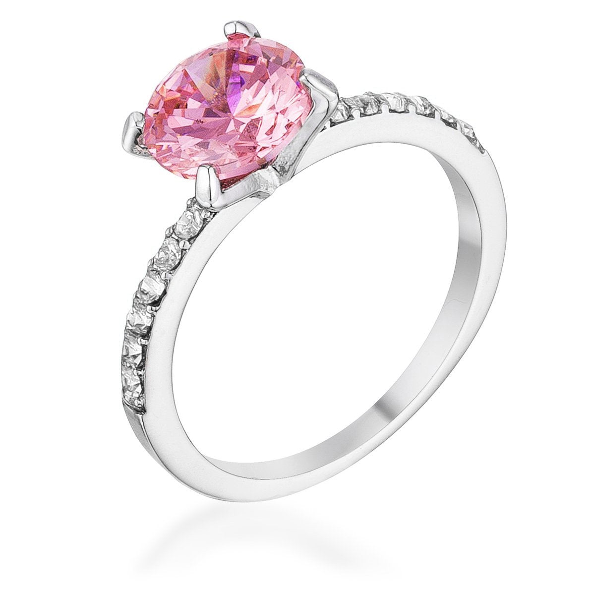 Classic 2.3Ct Pink CZ Rhodium Plated Ring - Opulent Lifestyle