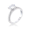 1.4ct Dainty Rhodium Plated Clear CZ Engagement Ring - Opulent Lifestyle