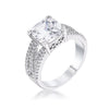 3Ct Elegant Rhodium Plated Criss-Cross Clear CZ Engagement Ring - Opulent Lifestyle