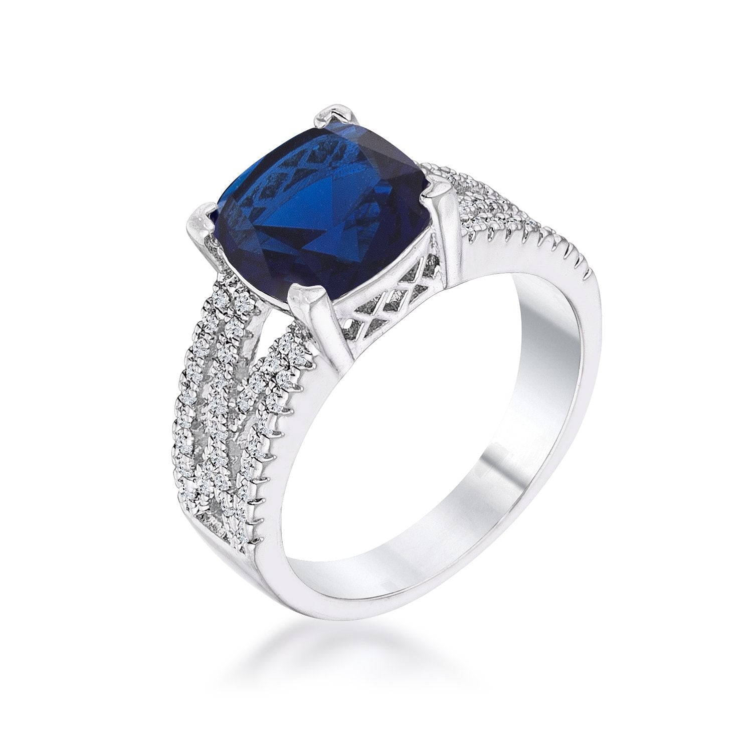 3ct Elegant Silvertone Criss-Cross Sapphire Blue CZ Engagement Ring - Opulent Lifestyle