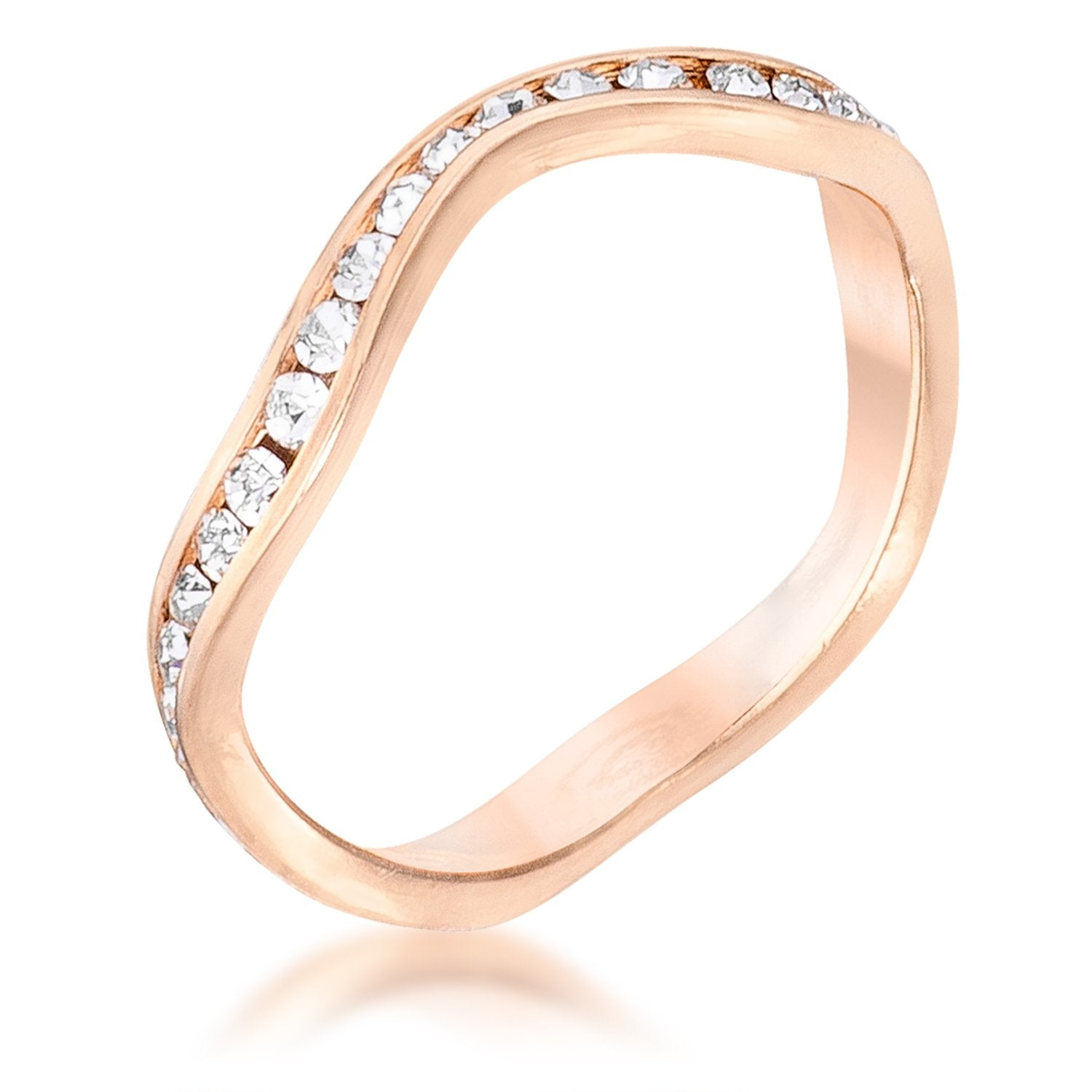 Rose Gold Plated Petite Wavy Channel Set Crystal Stackable Eternity Ring - Opulent Lifestyle
