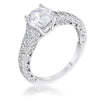 1.55ct Antique Rhodium Plated CZ Pave Engagement Ring - Opulent Lifestyle