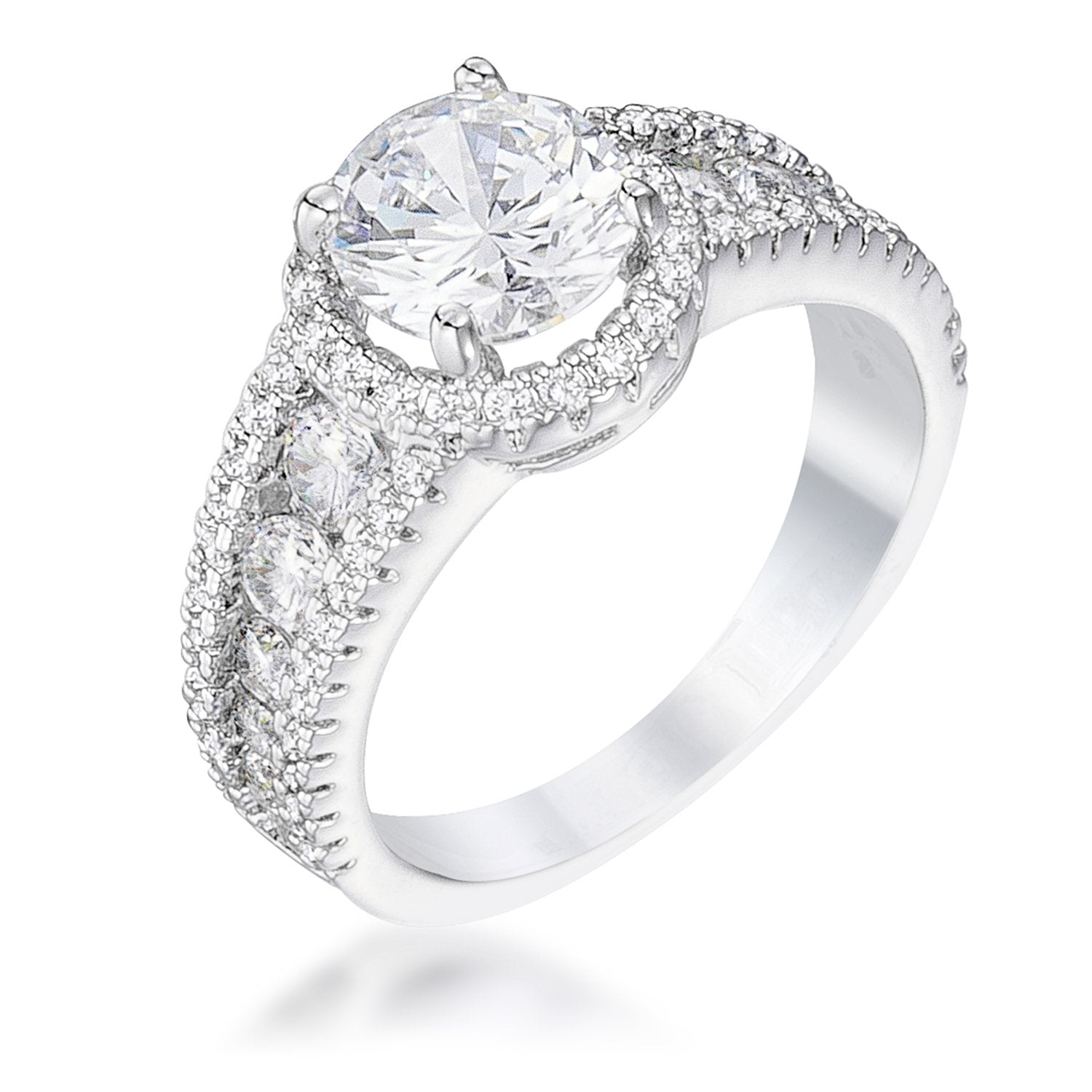 2.1Ct Rhodium Plated Solitaire Engagement Halo Ring - Opulent Lifestyle