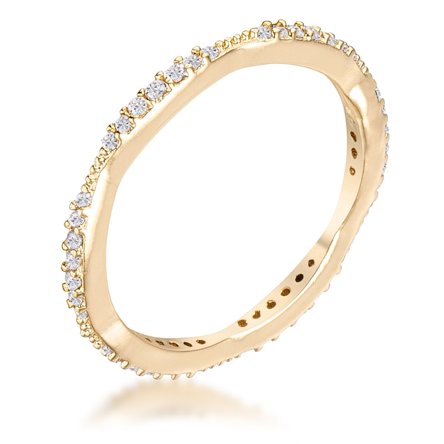 .42Ct Dainty 18k Gold Plated Micro Pave CZ Stackable Eternity Ring - Opulent Lifestyle