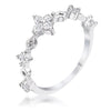 .24Ct Rhodium Plated Clear CZ Mini Floral Stackable Half Eternity Ring - Opulent Lifestyle
