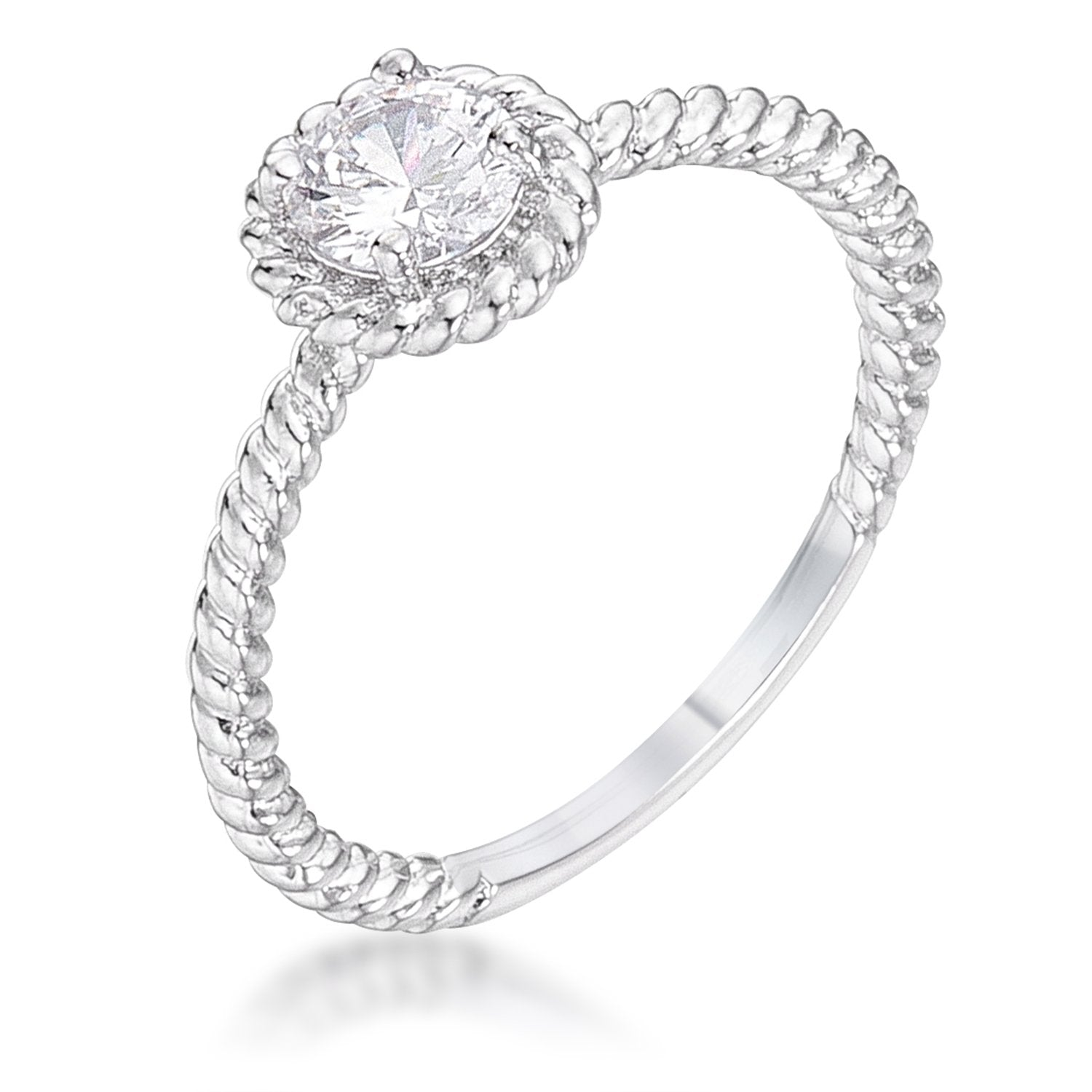 .45Ct Rhodium Plated Mini Twisted Rope CZ Solitaire Engagement Ring - Opulent Lifestyle
