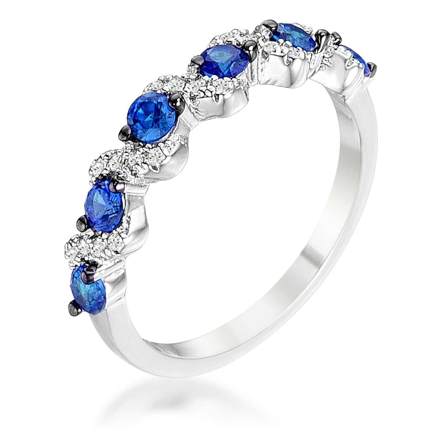 .18Ct Rhodium and Hematite Plated S Shape Sapphire Blue and Clear CZ Half Eternity Ring Band - Opulent Lifestyle