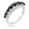 Black & Clear Half Eternity Ring - Opulent Lifestyle