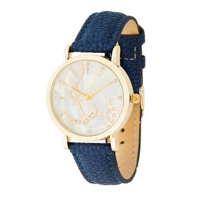 Navy Nautical Leather Watch - Opulent Lifestyle