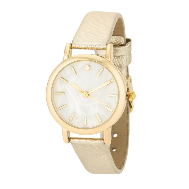 Gold Leather Watch - Opulent Lifestyle
