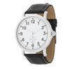 Silver Classic Watch With Black Leather Strap - Opulent Lifestyle