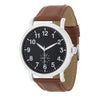 Silver Classic Watch With Brown Leather Strap - Opulent Lifestyle