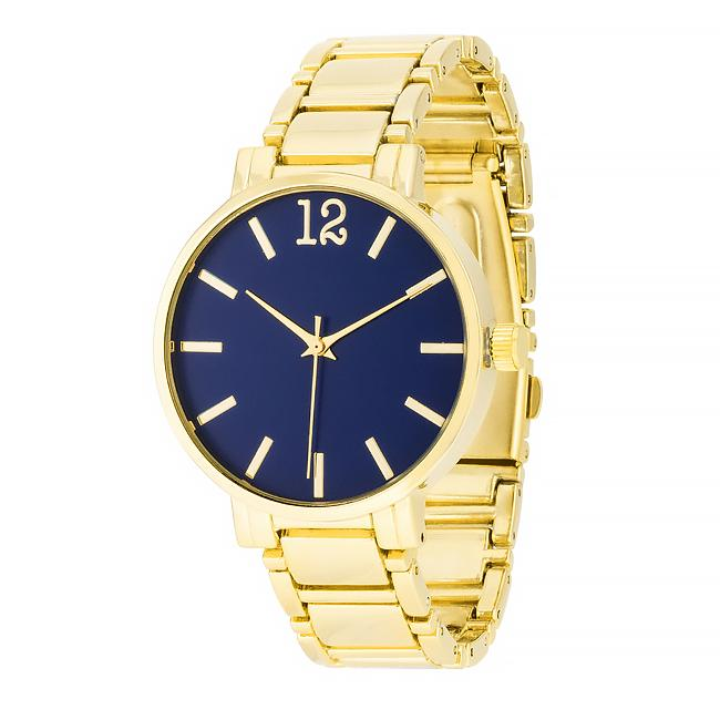 Gold Metal Watch - Navy - Opulent Lifestyle