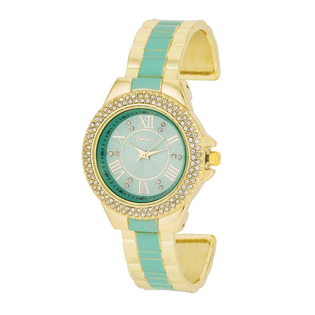 Gold Metal Cuff Watch With Crystals - Mint - Opulent Lifestyle