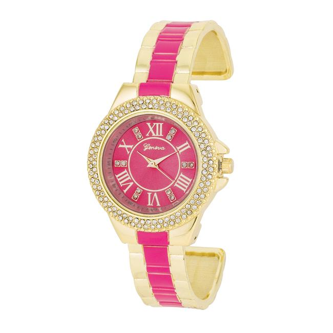Gold Metal Cuff Watch With Crystals - Pink - Opulent Lifestyle