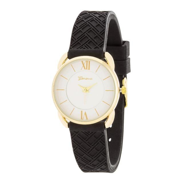 Mina Gold Classic Watch With Black Rubber Strap - Opulent Lifestyle