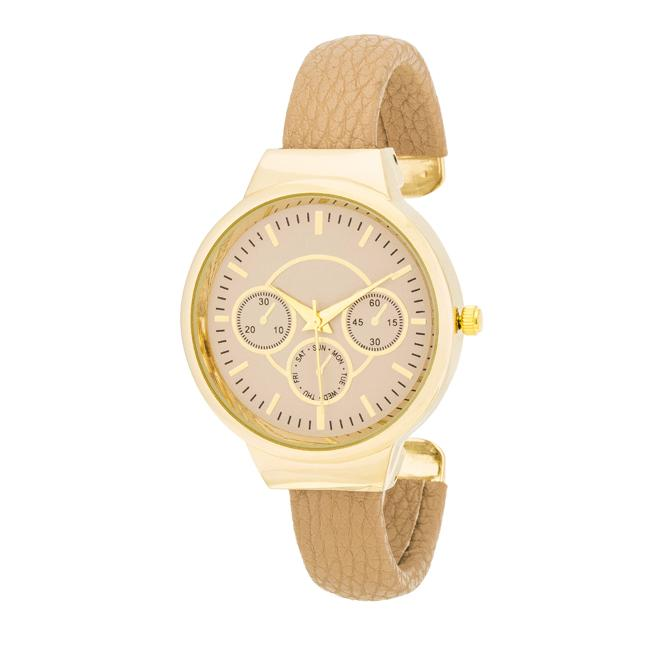 Reyna Gold Beige Leather Cuff Watch - Opulent Lifestyle