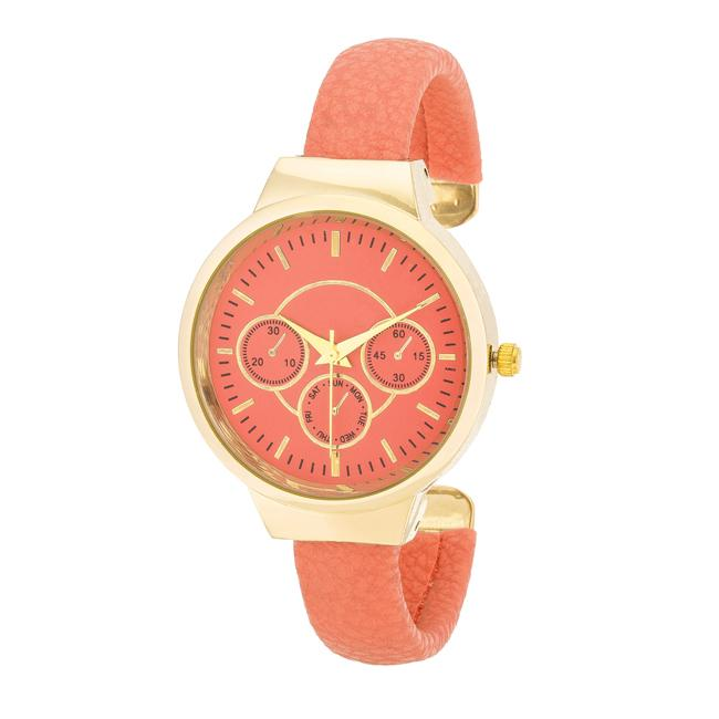 Reyna Gold Coral Leather Cuff Watch - Opulent Lifestyle