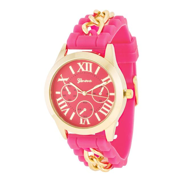 Gold Watch With Pink Rubber Strap - Opulent Lifestyle