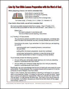 Bible Lesson Preparation Worksheet
