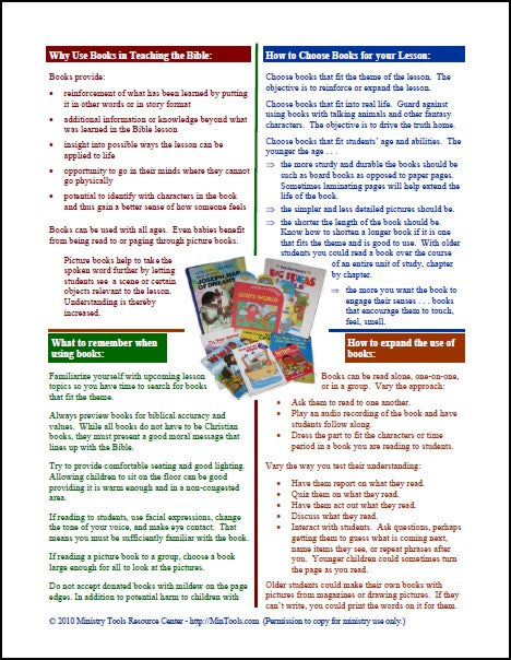 Books as Bible Learning Activities