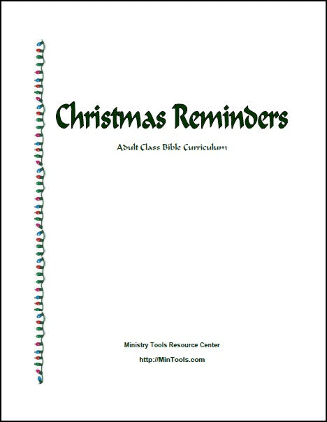 Christmas Reminders Adult Curriculum