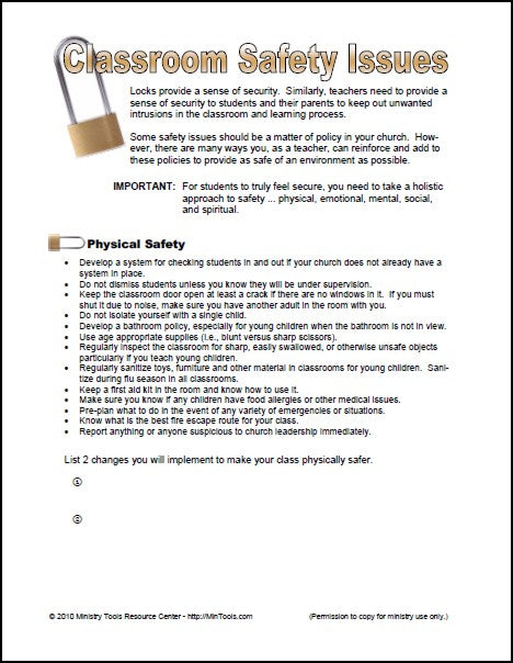 Classroom Safety Issues Worksheet