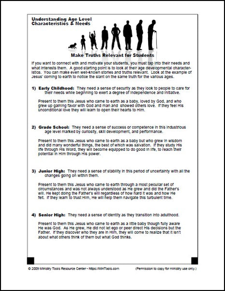 Make Truths Relevant: Age Level Characteristics & Needs Worksheet Download