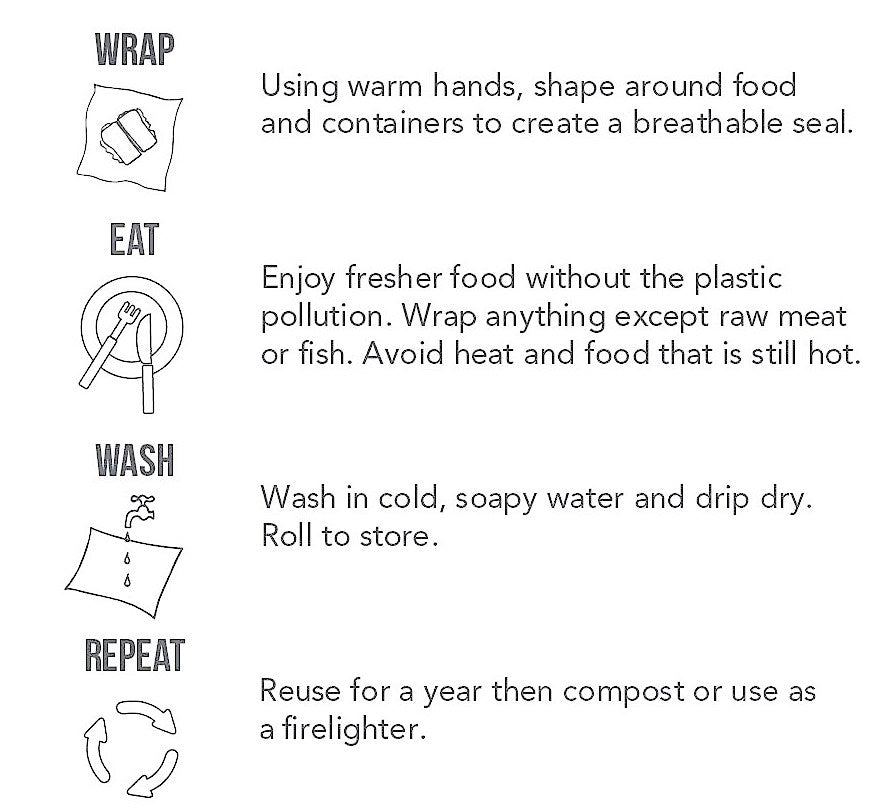BeeBee Wraps beeswax food wraps washing instructions care instructions