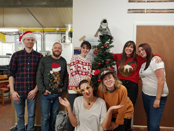 Team BeeBee wearing Christmas jumpers 2019