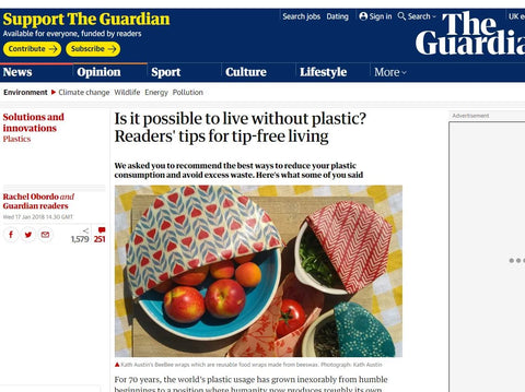 The guardian cites BeeBee Wraps as a great plastic alternative
