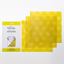 Three medium organic cotton beeswax food wraps