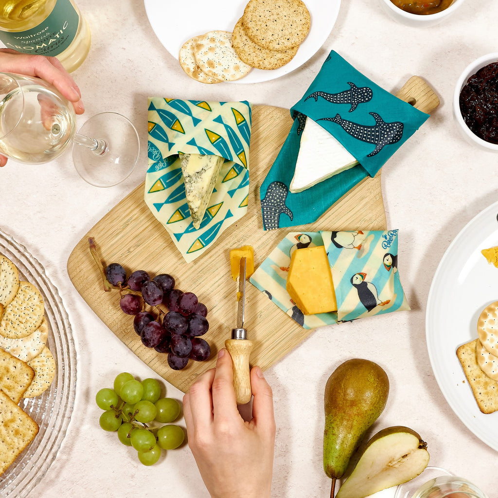 Cheese wrapped in ocean collection beeswax wraps