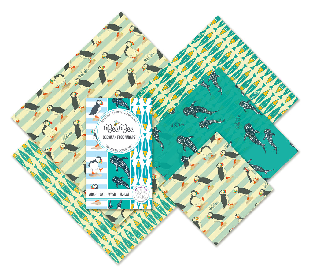 The family collection beeswax wraps sardines whale pod puffins