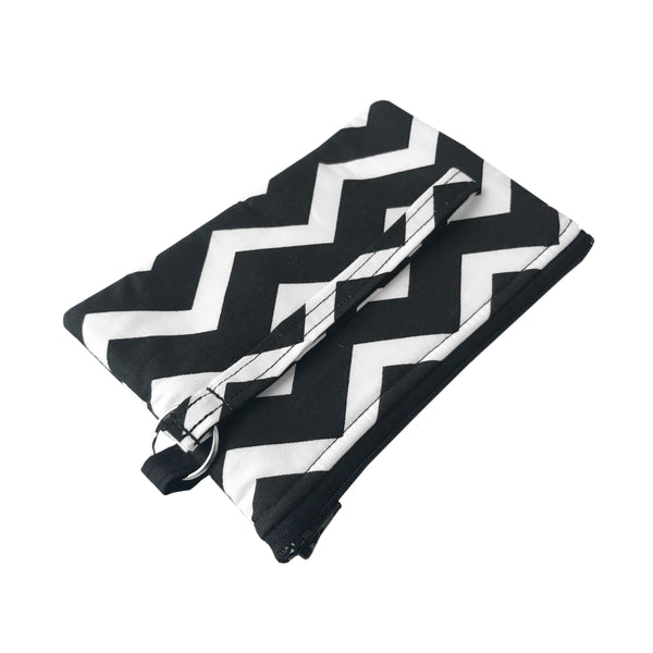 Black Chevron Wristlet Clutch