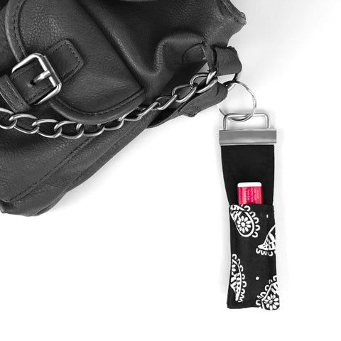 Black Paisley Lip Balm Key Fob
