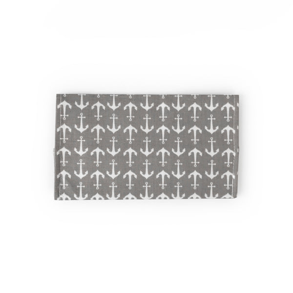 Gray Anchor Checkbook Cover