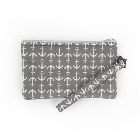 Gray Anchor Wristlet Clutch