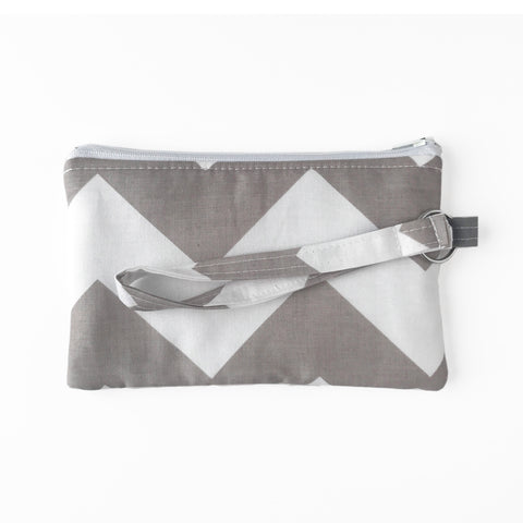 Large Gray Chevron Wristlet Clutch