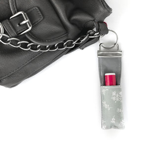 Gray Floral Lip Balm Key Fob