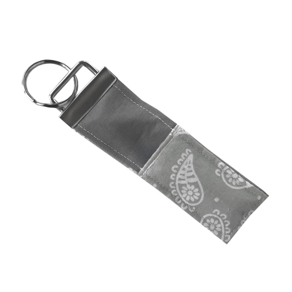 Gray Paisley Lip Balm Key Fob