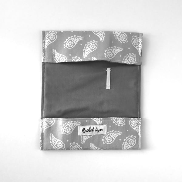 Gray Paisley Checkbook Cover