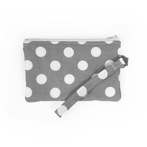 Gray Polka Dot Wristlet Clutch