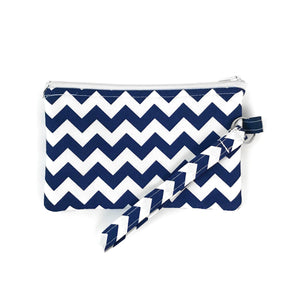 Navy Chevron Wristlet Clutch