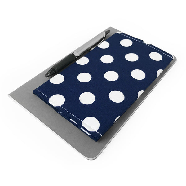 Navy Polka Dot Checkbook Cover