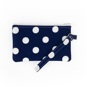 Navy Polka Dot Wristlet Clutch