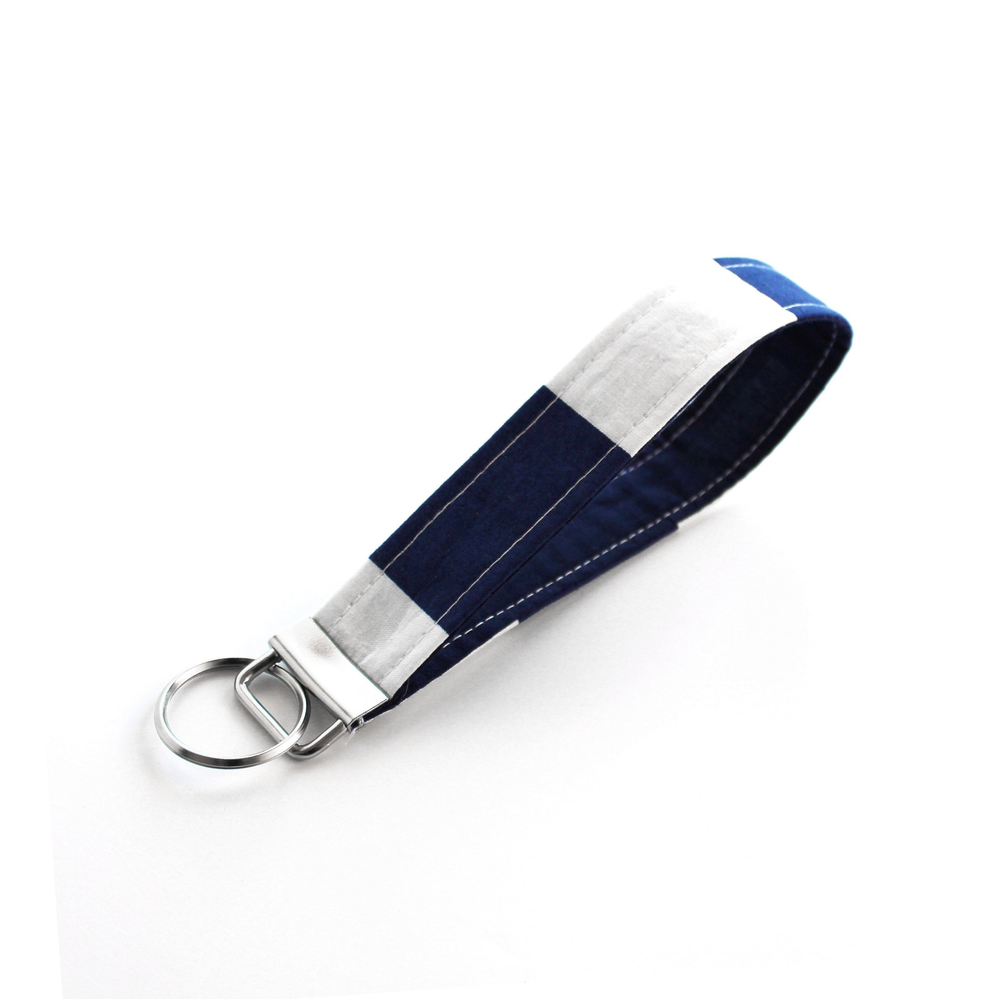 Navy Stripe Key Fob