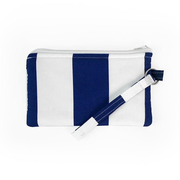 Navy Stripe Wristlet Clutch