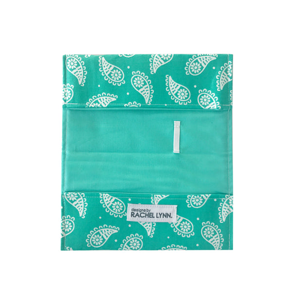 Turquoise Paisley Checkbook Cover