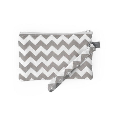 Gray Chevron Wristlet Clutch